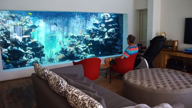 il construit un aquarium g ant dans son salon pour pouvoir nager avec ses poissons vid o rtl. Black Bedroom Furniture Sets. Home Design Ideas