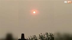 Un étonnant soleil rouge dans le ciel belge