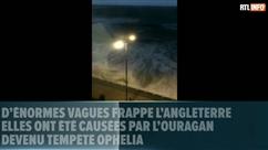D'énormes vagues causées par la tempête Ophelia frappent l'Angleterre