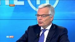 Pascal Vrebos reçoit Didier Reynders après le RTLInfo 13H
