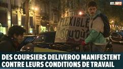 """Des coursiers Deliveroo manifestent à Bruxelles contre leurs conditions de travail: """"Nous sommes contre l'esclavagisme"""""""