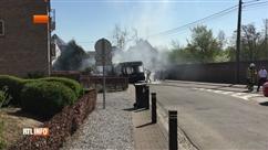 Un bus TEC prend complètement feu à Rêves: le chauffeur a eu un bon réflexe