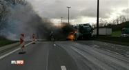 Accident sur la E42 à hauteur de Courcelles: un camion en feu, plusieurs voitures impliquées
