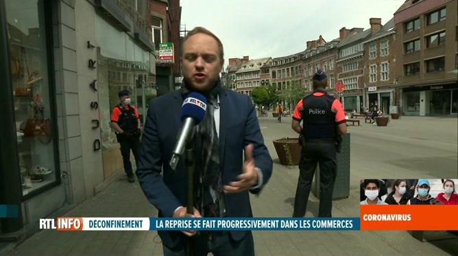 Coronavirus en Belgique: ambiance dans une artère commerçante de Namur