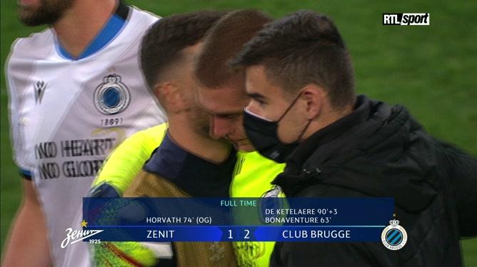 Ligues des champions: les LARMES du gardien de Bruges après la victoire contre le Zénith (vidéo)