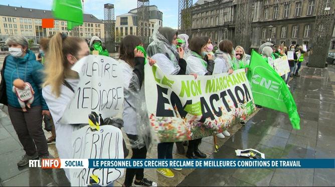 De nombreuses crèches étaient en grève en Wallonie et à Bruxelles