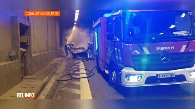 Une voiture a pris feu dans le tunnel d'Hublinbu à Charleroi