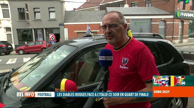 Euro 2020, Belgique-Italie: le noir-jaune-rouge s'affiche partout