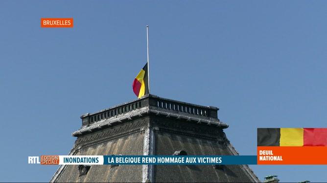 Deuil national suite aux inondations: les drapeaux en berne en Belgique