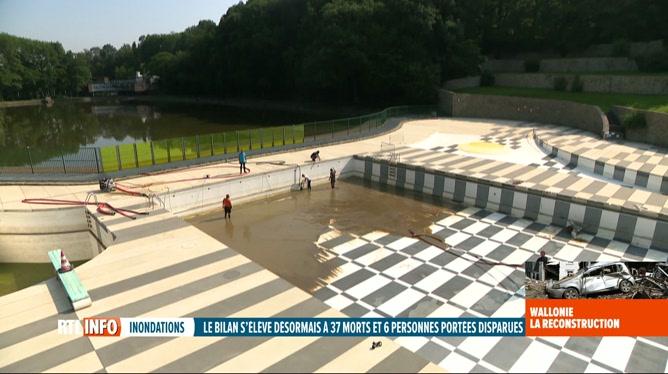 Inondations: la piscine en plein air de Loverval-Marcinelle en cours de nettoyage