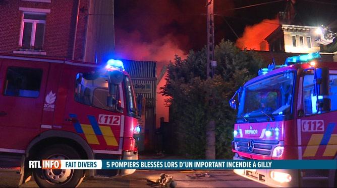 Important incendie à Gilly, des riverains évacués et 5 pompiers blessés