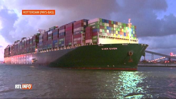 Arrivée du porte-conteneurs Ever Given à Rotterdam cette nuit